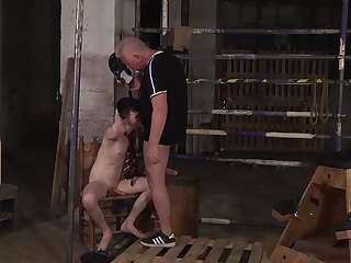 Rough anal play in the dungeon for Sebastian Kane and Alex Paladin