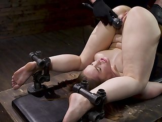 Gagged babe overage up being ass fucked in unimpassioned BDSM