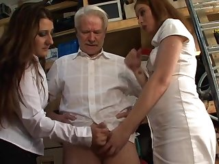 Mature guy gets mocked by Kimberly Scott and Trinity for his pecker