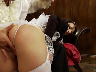 Latina maid slut Lucy Love blows cock and bends over for a fuck