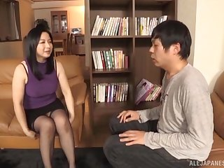 Brunette mature Japanese MILF Kumakura Shouko rides her husband hard