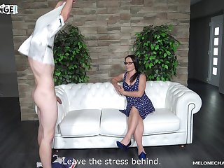 Wendy Moon sucks dick on the casting couch with her friend watching