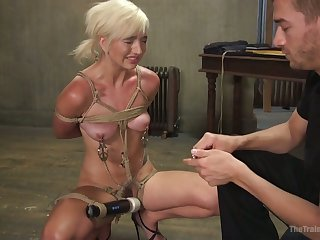 Real horny bondage slut Eliza Jane has to blow strong cock dry