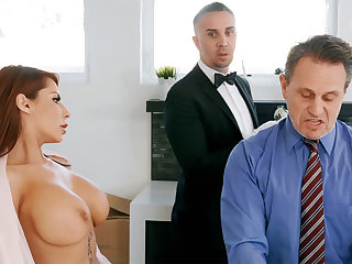Horny butler is ready around anal fuck housewife