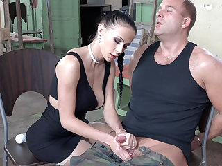 Sexy brunette play with dick be useful to military