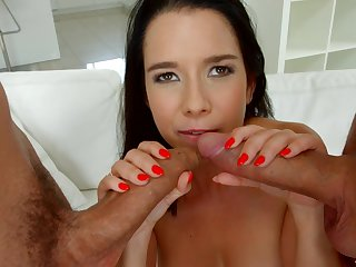 Mila Rone adores thither blow a strong cock while other guy fucks her