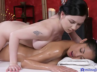 Lesbian Davon gets a crowd to crowd massage that ends up just about strong orgasm.