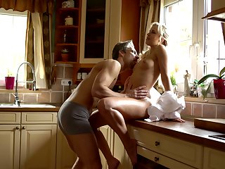 Sexy housewife Dido Angel has nothing against being fucked in the kitchen