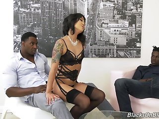 Korean porn actress Saya Song gives a blowjob and gets double penetrated hard by a handful of black fellows