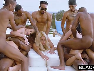 Teanna Trump, Adriana Chechik and Vicki Pursue are orgying during a vacation, all over dark-hued men