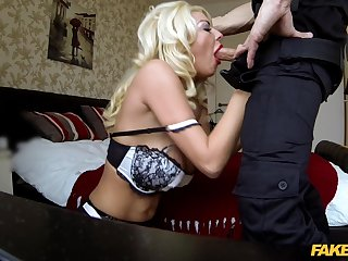 Sexy blonde reverse rides cop's erect cock then swallows some jizz