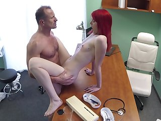 Slim cutie pie rides her doctor after he check her pussy befitting