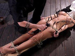 Hogtied Charlotte Cross suspended in the melody and pussy shaved