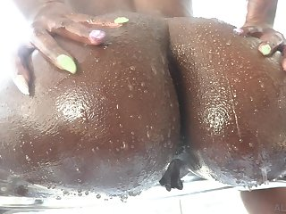 Big bottomed black whore Ebony Mystique gets lubed and enjoys hardcore anal sex