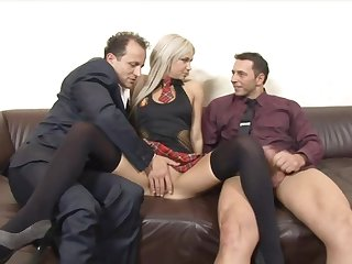 Huband shares his cock hungry blonde wife Liana close by his boss