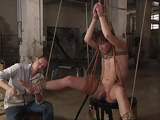 Restrained twink plays obedient be useful to his lover